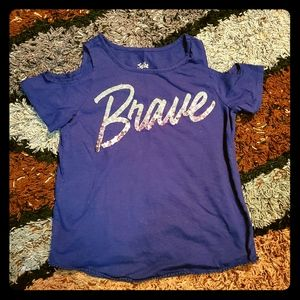 Justice  sequin and glitter BRAVE shirt